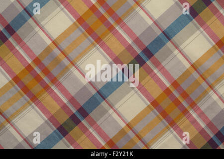 Background of Beige ,Red and Blue Plaid Cloth, Shot in Studio. - Stock Photo