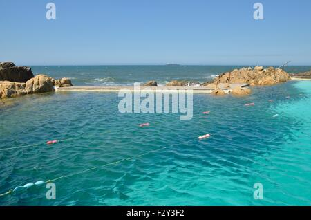 Natural swimming pool on the beach of Lea da Palmeira which is located north of the city of Matosinhos, Porto, Portugal - Stock Photo