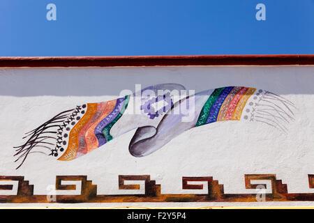 Drawing typical Mexican blanket Manzanillo Colima Mexico North America - Stock Photo