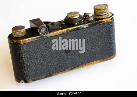 This vintage, 35mm Leica Ia camera is a historic icon and has been used for decades by reporters and street photographers - Stock Photo