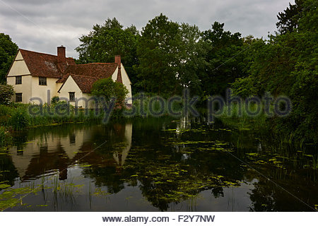 House by a pond in Flatford, (Constable country - Haywain). - Stock Photo