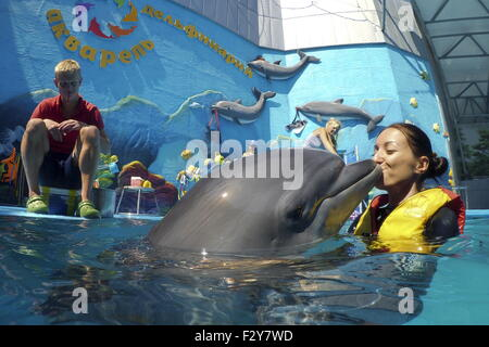 Alushta, Russia. 24th Aug, 2015. A therapist playing with a dolphin in the Akvarel dolphinarium. © Artyom Korotayev/TASS/Alamy - Stock Photo