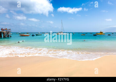 Aerial view of Santa Maria beach in Sal Island Cape Verde - Cabo Verde - Stock Photo
