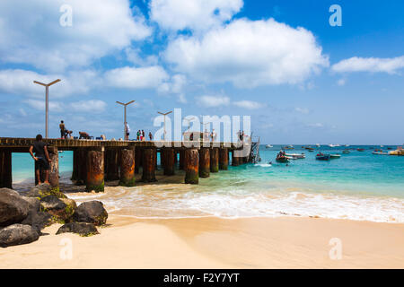Santa Maria beach pontoon in Sal Island Cape Verde - Cabo Verde - Stock Photo