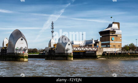 Thames Flood Barrier Pods, movable flood control structure prevents flooding, Greenwich, London - Stock Photo