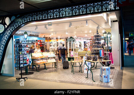 PARIS - SEPTEMBER 5TH: Duty free at Charle de gaulle airport on September the 5th, 2015 in Paris, France. Charle - Stock Photo