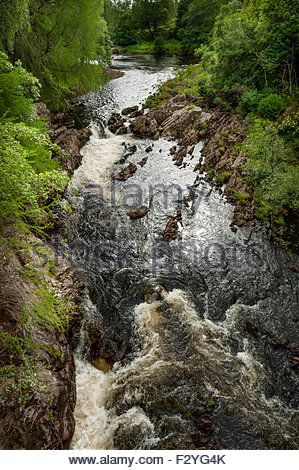 A fast flowing strech of the River Lyon, near the Bridge of Balgie, Perthshire. - Stock Photo