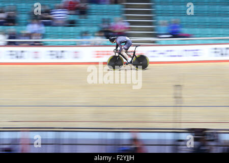 Manchester, UK. 26th Sep, 2015. The second day of the 2015 British Cycling National Track Championships gets underway - Stock Photo