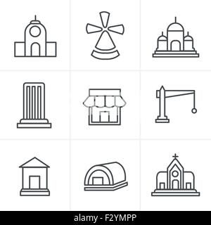 Line Icons Style  Set of house icons - Stock Photo