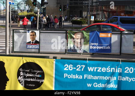 Gdansk, Poland 26th, September 2015 Electoral campaign at Gdansk streets. Candidates in the parliamentary elections - Stock Photo