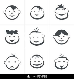 Kids icons set, boys and girls, children symbols, vector illustration - Stock Photo