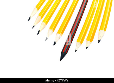 pencil standing out from a bunch of crowd pencils, leadership concept - Stock Photo