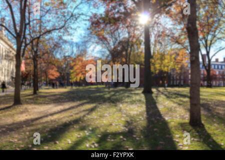 Blurred background of Harvard Yard on a beautiful Fall day in Cambridge, MA, USA. - Stock Photo