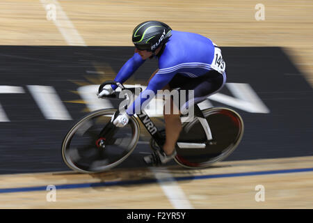 Manchester, UK. 26th Sep, 2015. Matthew Rotherham competing in the Male Sprint Quarter Finals at the 2015 British - Stock Photo