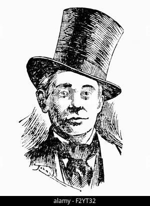 Vintage newspaper portrait of bare-knuckle boxer Yankee Sullivan (c1811 - 1856) - self-proclaimed heavyweight Champion - Stock Photo