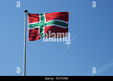 The flag of Bornholm (small island the baltic sea) - Stock Photo