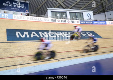 Manchester, UK, 26th Sep, 2015. The second day of the 2015 British Cycling National Track Championships gets underway - Stock Photo
