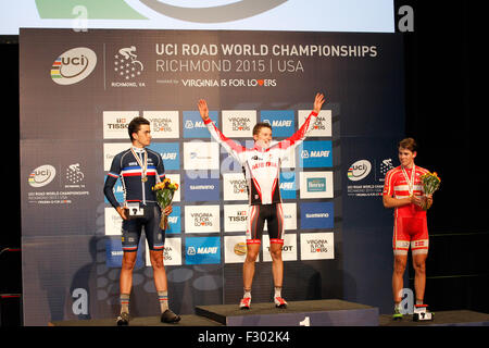 RICHMOND, VIRGINIA, 26 Sept., 2015. 2015 UCI junior road world race champions: Felix Gall (Austria), 1st; Clement - Stock Photo