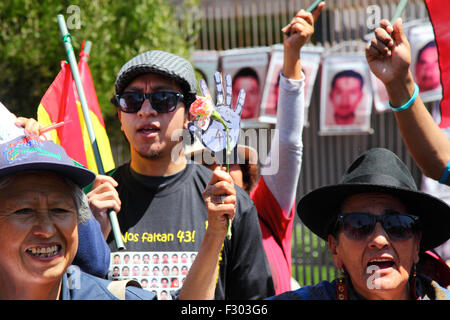 La Paz, Bolivia, 26th September 2015. Protesters outside the Mexican Embassy in La Paz commemorate the first anniversary - Stock Photo