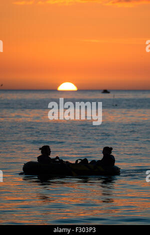 Aberystwyth Wales UK, Saturday 26 September 2015  UK Weather - At the end of a day of unbroken sunshine, a young - Stock Photo