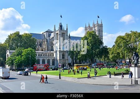 Parliament Square with the church of St Margaret in the grounds of Westminster Abbey London England UK - Stock Photo