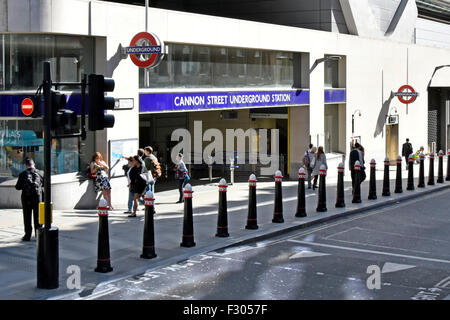 Cannon Street underground train station entrance with bollards protecting pavement & pedestrians City of London - Stock Photo