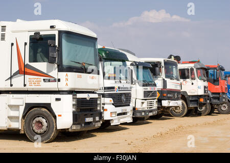 Construction truck in line - Stock Photo