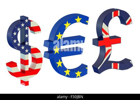 Currency Symbols isolated on white background - Stock Photo