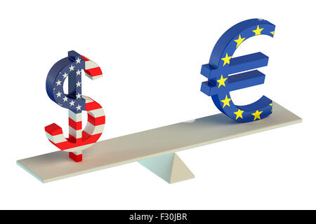 Dollar or Euro, balance concept isolated on white background - Stock Photo