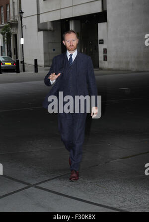 London, UK, 26th July 2015: Mark Gatiss arrives at the BBC Broadcasting House for The Andrew Marr Show in London - Stock Photo
