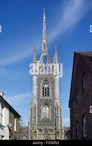 Faversham, Church of St Mary of Charity, Kent. Tower and Steeple - Stock Photo