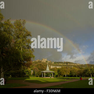 Dover Castle and bandstand, Kent. With rainbow - Stock Photo