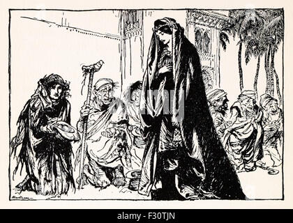 'St George of Merrie England' Princess Sabia handing alms to the beggars, from 'English Fairy Tales', illustration - Stock Photo