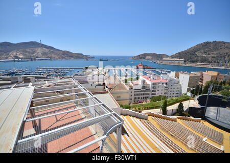 Cartagena port. view from the castle - Stock Photo