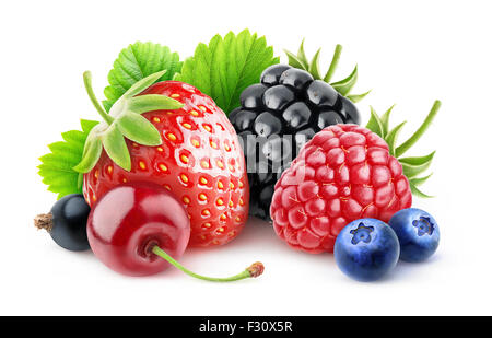 Various summer berries over white background with clipping path - Stock Photo