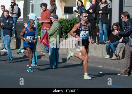 Berlin, Germany. 27th Sep, 2015. Greek athlete Christoforos Merousis finished 45th in the 42nd Berlin Marathon, - Stock Photo
