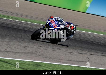 Alcaniz, Spain MotoGP. 27th Sep, 2015. Gran Prix Movistar of Aragon. Jorge Lorenzo (movistar Yamaha) on his way - Stock Photo