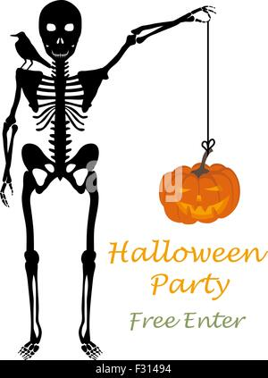 halloween greeting invitation card elegant design with skeleton holding hanged pumpkin in hand