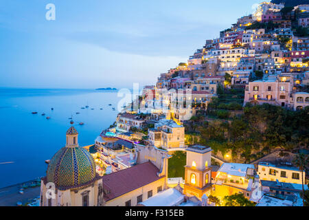 Positano after sunset, Amalfi Coast, Italy, Naples. - Stock Photo