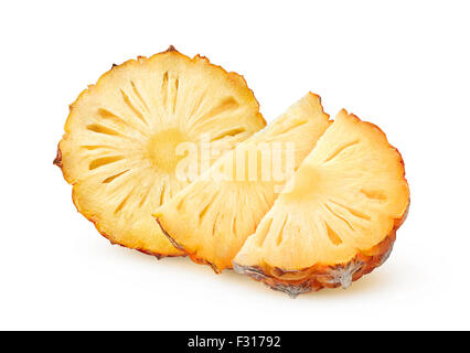 Fresh pineapple slices over white background with clipping path - Stock Photo