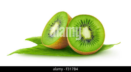 Cut kiwi fruits isolated on white - Stock Photo