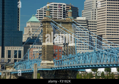 ROEBLING SUSPENSION BRIDGE (©JOHN REOBLING 1867) DOWNTOWN CINCINNATI OHIO USA - Stock Photo