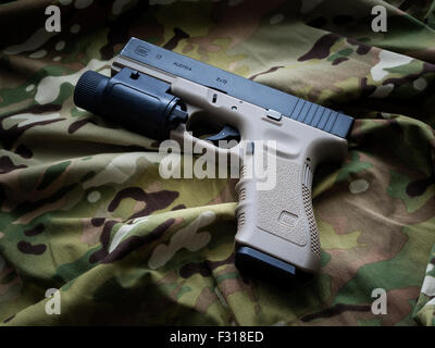 Los Angeles, CA, USA - September 11, 2015: Glock 17 semi-automatic 9x19mm pistol - weapon by law enforcement professionals. - Stock Photo