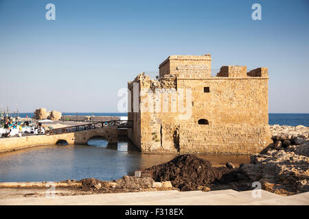 Paphos City, Cyprus - JULY 16, 2015: Paphos medieval fort in the afternoon - Stock Photo