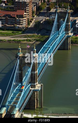 ROEBLING SUSPENSION BRIDGE OHIO RIVER COVINGTON KENTUCKY USA - Stock Photo