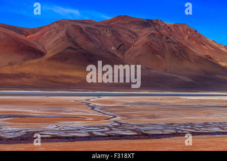 Salar de Tara with colored hills in the background - Stock Photo