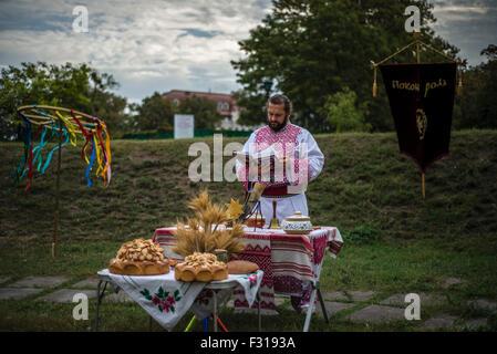 Kiev, Ukraine. 27th Sep, 2015. Ukrainian pagans celebrate Radogost, one of the main Slavic holidays Credit:  Oleksandr - Stock Photo