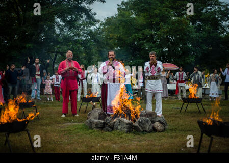 Kiev, Ukraine. 27th Sep, 2015. Ukrainian pagans celebrate Radogost, one of the main Slavic holidays Credit:  Oleksandr - Stock Photo
