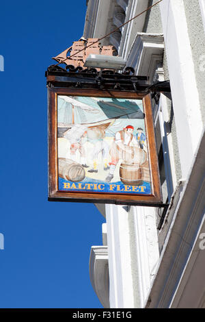 Baltic Fleet hanging framed Pub sign on the Strand, the waterfront road in Liverpool, Merseyside, UK - Stock Photo
