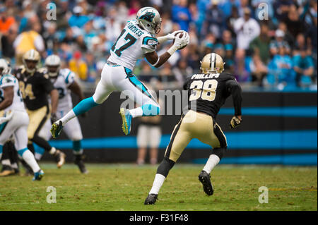 Carolina Panthers wide receiver Devin Funchess (17) during the NFL football game between the New Orleans Saints - Stock Photo